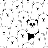 Vector seamless pattern with white polar bears and panda - 92713574