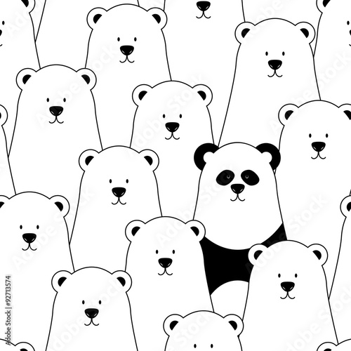 Vector seamless pattern with white polar bears and panda