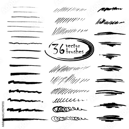 36 vector art brushes. Hand drawn ink brushes with rough edges. Tableau sur Toile