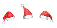Christmas Santa Red Hats, Watercolor