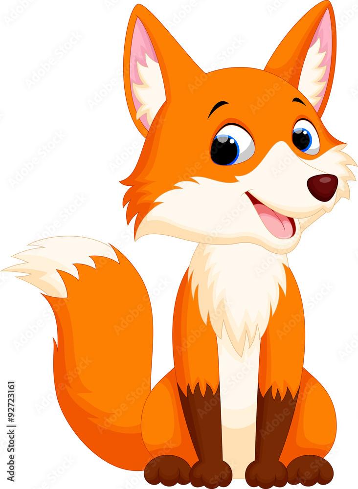 Fototapeta Cute fox cartoon