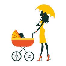Fashion Mom With Baby In Pram Under Umbrella