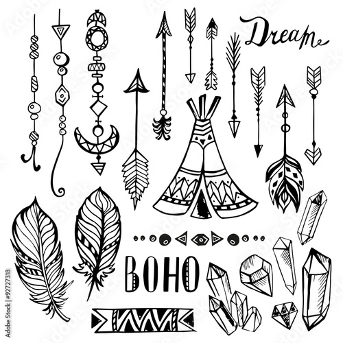 Door stickers Boho Style Hand drawn ethnic collection. Vector set with boho elements