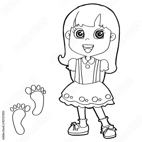 kid with paw print Coloring Page vector – kaufen Sie diese ...