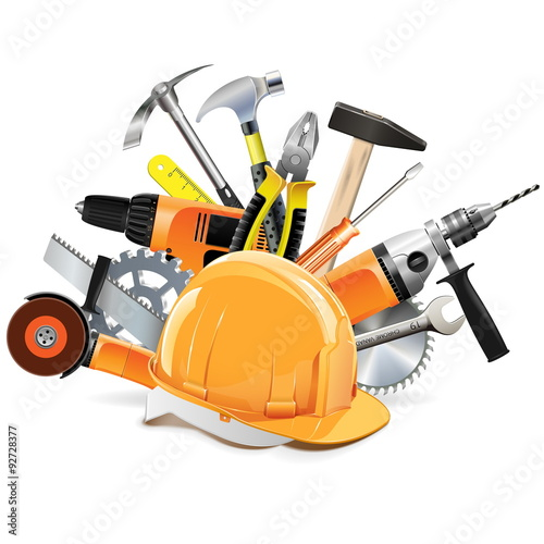 Fotografía  Vector Construction Tools with Helmet
