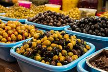 Olives At Carmel Market In Tel Aviv