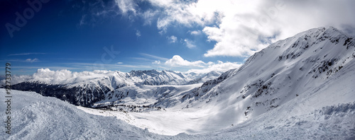 Spoed Foto op Canvas Donkergrijs Winter mountain fir forest snowy panorama