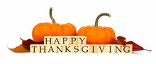 Happy Thanksgiving Wooden Blocks With Pumpkins And Autumn Leaves Isolated On White