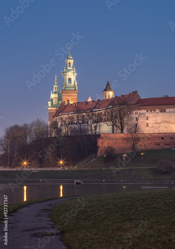 Wawel Castle and Wawel cathedral seen from the Vistula boulevards in the evening #92737367