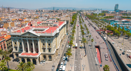 Panel SzklanyBarcelona panorama cityscape, city streets traffic aerial view