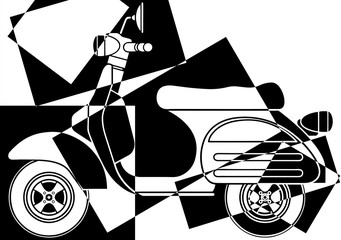 Panel Szklany Popart Scooter pop art en noir et en blanc