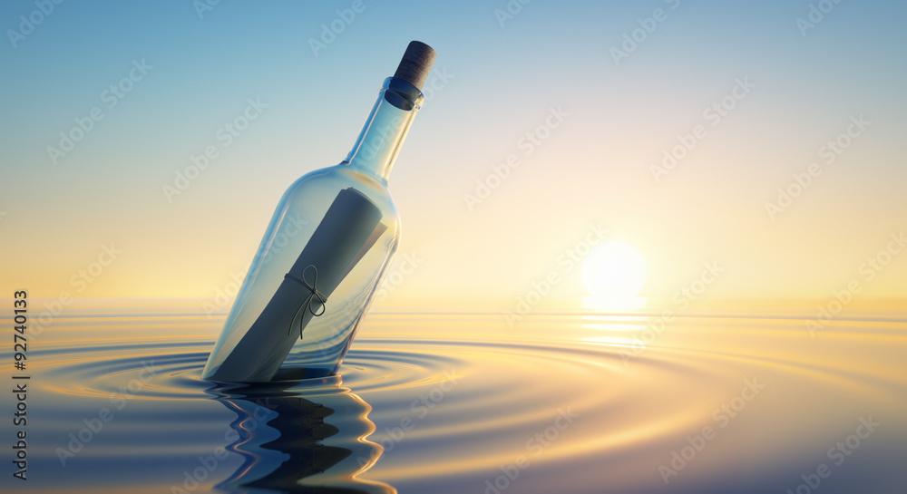Fototapety, obrazy: Flaschenpost im Sonnenuntergang