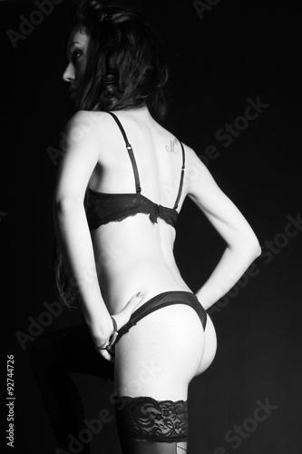 Fototapeta Sensual brunette girl with black underwear nice ass obraz na płótnie