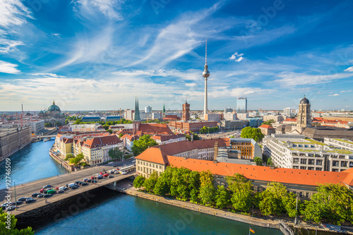 Poster Berlin Berlin skyline panorama with TV tower and Spree river, Germany