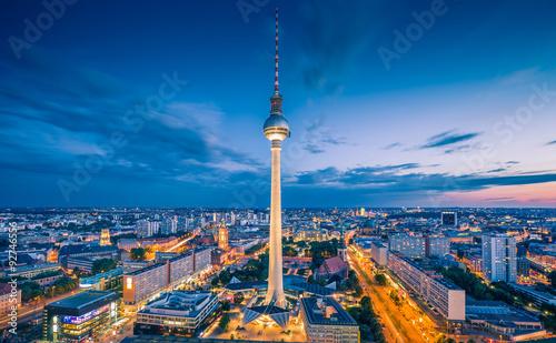 Fotobehang Berlijn Berlin skyline with TV tower at night, Germany