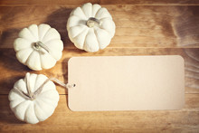 White Pumpkins With Message Card