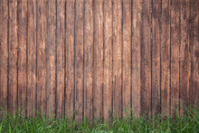 Wood Fence Background With Green Grass