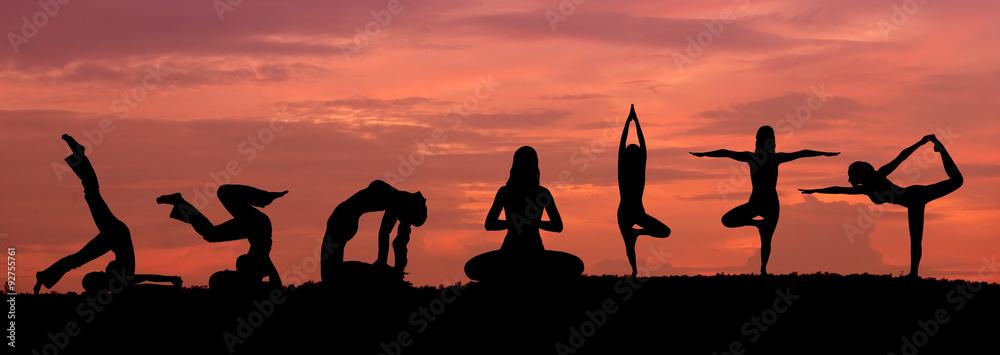 Fototapeta Silhouette of a beautiful Yoga woman