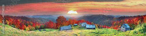 Aluminium Prints Autumn Refuge in autumn mountains