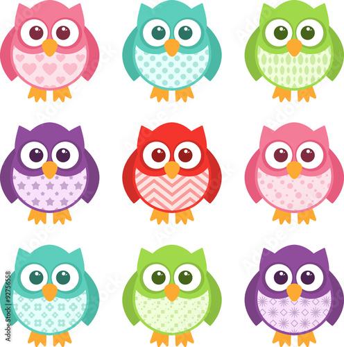 Canvas Prints Owls cartoon Cute Simple Cartoon Patterned Owls