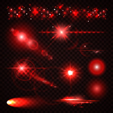 Set Of Red Light Effects, Spotlights, Flash, Stars And Particles