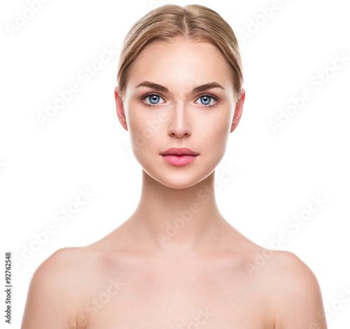Fotografia Beautiful spa model girl with perfect fresh clean skin