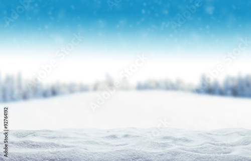 Poster White Winter snowy background