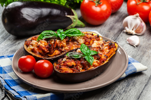 Photo  Baked eggplant with pieces of chicken