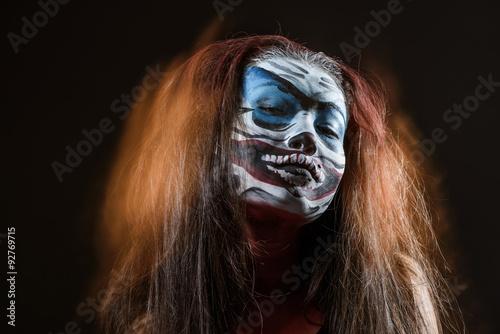 Fototapety, obrazy: Fantasy hallowen make up. Close up shot of Fairy face art