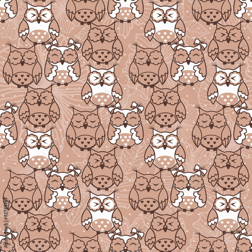 Poster Hibou Seamless pattern of owls on beige background