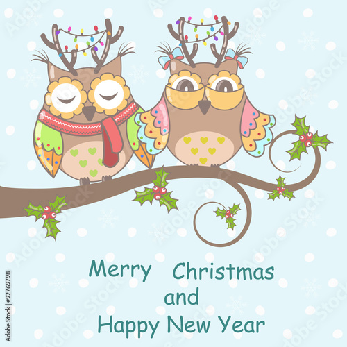 Poster Hibou Christmas card with owls on a tree on a blue background