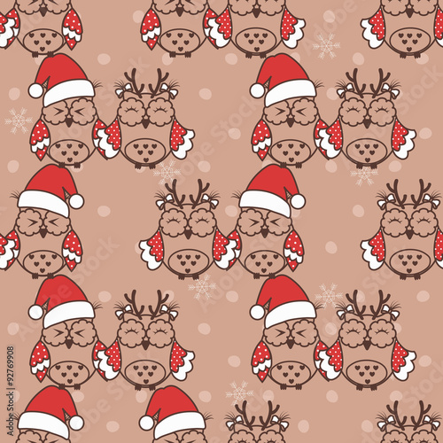 Poster Hibou Seamless pattern with Christmas owls on beige background