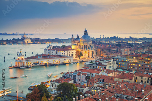 Poster Venise Venice. Aerial view of the Venice with Basilica di Santa Maria della Salute taken from St. Mark's Campanile.
