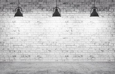 Panel Szklany Brick wall, concrete floor and lamps background 3d render