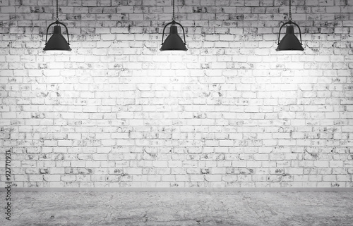 Staande foto Baksteen muur Brick wall, concrete floor and lamps background 3d render