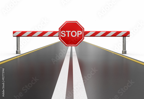 Closed road with stop sign (clipping path included)