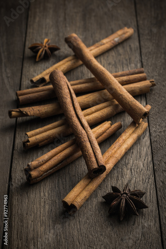 Cinnamon Stick And Star Anise Spice On Rustic Wood Table