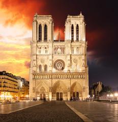 Notre Dame Cathedral at dusk in Paris, France