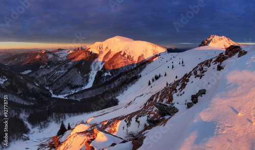Photo Stands Night blue Panoramic mountain winter landscape, Slovakia