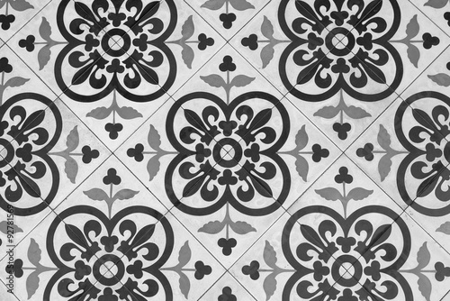 Fotografía  Black and White Vintage Floor Tile