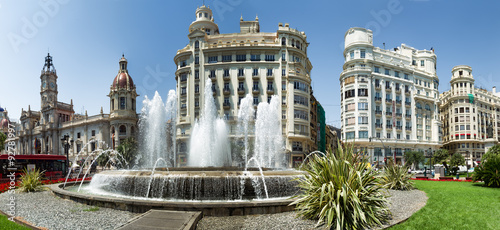 Main city square of Valencia, The Plaza del Ayuntamiento, Spain