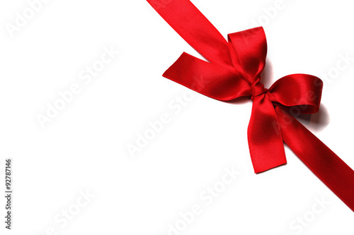 Fotografie, Obraz  Shiny red satin ribbon