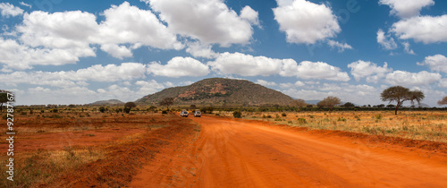 Stickers pour porte Orange eclat Landscape of Tsavo East, Kenya