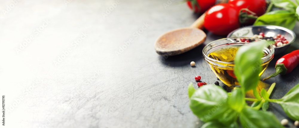Fototapety, obrazy: Wooden spoon and ingredients on old background