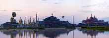 Panoramic View Of Ancient Pagoda And Monastery On Inle Lake, Shan State, Myanmar