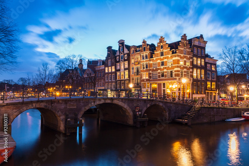 Beautiful view after sunset on the Brouwersgracht in Amsterdam, the Netherlands, a UNESCO world heritage site Poster