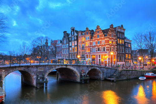 Beautiful long exposure HDR image of the Brouwersgracht in Amsterdam, the Netherlands, a UNESCO world heritage site Canvas Print