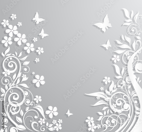 Foto op Aluminium Vlinders in Grunge Abstract background with paper flowers and butterflies.