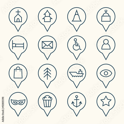 Valokuva  Map pointers icon set