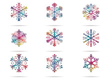Set 9 Icons Snowflakes